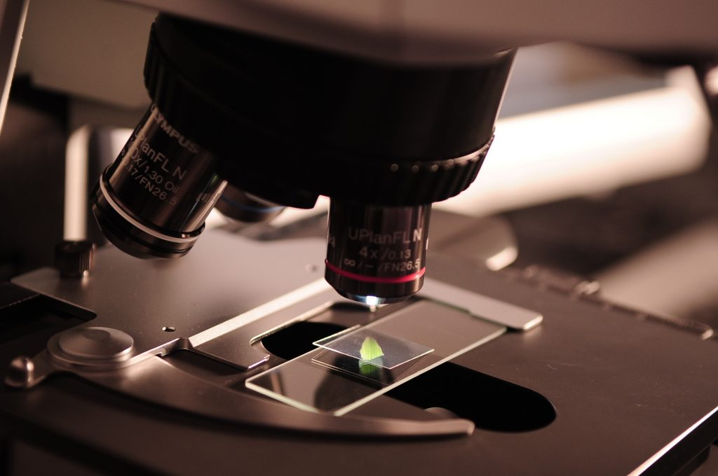 picture of microscope in a lab studying soil chemistry