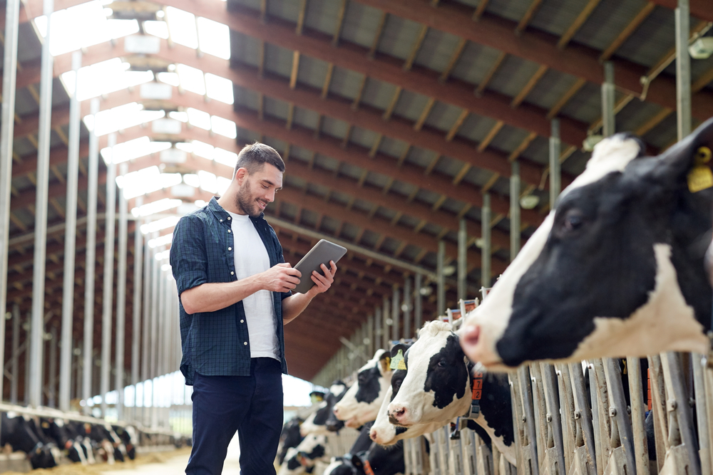 picture of man with tablet in a farm as an example of Agriculture Technology